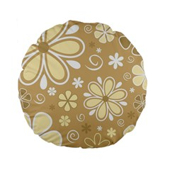 Flower Floral Star Sunflower Grey Standard 15  Premium Flano Round Cushions by Mariart
