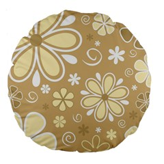 Flower Floral Star Sunflower Grey Large 18  Premium Flano Round Cushions by Mariart