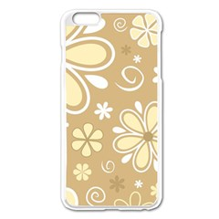 Flower Floral Star Sunflower Grey Apple Iphone 6 Plus/6s Plus Enamel White Case by Mariart