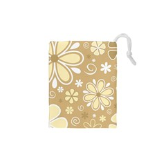 Flower Floral Star Sunflower Grey Drawstring Pouches (xs)