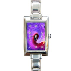 Digital Art Spirals Wave Waves Chevron Red Purple Blue Pink Rectangle Italian Charm Watch by Mariart