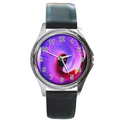 Digital Art Spirals Wave Waves Chevron Red Purple Blue Pink Round Metal Watch by Mariart