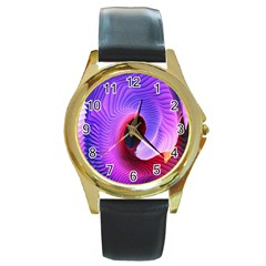 Digital Art Spirals Wave Waves Chevron Red Purple Blue Pink Round Gold Metal Watch by Mariart