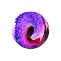 Digital Art Spirals Wave Waves Chevron Red Purple Blue Pink Magnet 3  (round) by Mariart