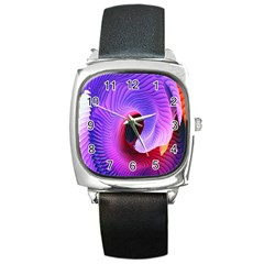 Digital Art Spirals Wave Waves Chevron Red Purple Blue Pink Square Metal Watch by Mariart