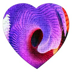 Digital Art Spirals Wave Waves Chevron Red Purple Blue Pink Jigsaw Puzzle (heart) by Mariart