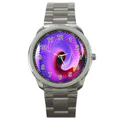 Digital Art Spirals Wave Waves Chevron Red Purple Blue Pink Sport Metal Watch by Mariart