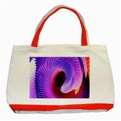 Digital Art Spirals Wave Waves Chevron Red Purple Blue Pink Classic Tote Bag (red) by Mariart