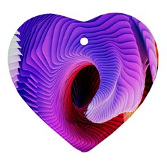 Digital Art Spirals Wave Waves Chevron Red Purple Blue Pink Heart Ornament (two Sides) by Mariart