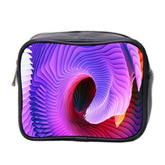 Digital Art Spirals Wave Waves Chevron Red Purple Blue Pink Mini Toiletries Bag 2 Side by Mariart