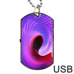Digital Art Spirals Wave Waves Chevron Red Purple Blue Pink Dog Tag Usb Flash (one Side) by Mariart