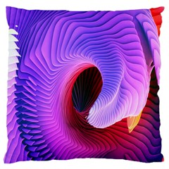 Digital Art Spirals Wave Waves Chevron Red Purple Blue Pink Large Cushion Case (two Sides) by Mariart