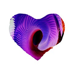 Digital Art Spirals Wave Waves Chevron Red Purple Blue Pink Standard 16  Premium Flano Heart Shape Cushions by Mariart