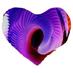 Digital Art Spirals Wave Waves Chevron Red Purple Blue Pink Large 19  Premium Flano Heart Shape Cushions by Mariart