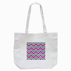 Zig Zags Pattern Tote Bag (white) by Valentinaart