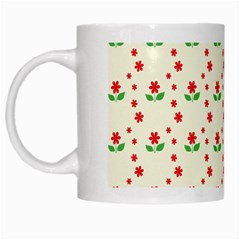 Flower Floral Sunflower Rose Star Red Green White Mugs by Mariart