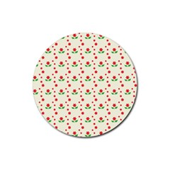 Flower Floral Sunflower Rose Star Red Green Rubber Round Coaster (4 Pack)  by Mariart