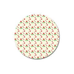 Flower Floral Sunflower Rose Star Red Green Magnet 3  (round) by Mariart