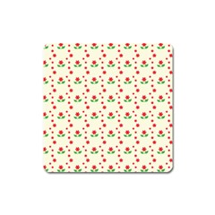 Flower Floral Sunflower Rose Star Red Green Square Magnet by Mariart