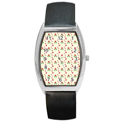Flower Floral Sunflower Rose Star Red Green Barrel Style Metal Watch by Mariart