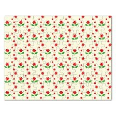 Flower Floral Sunflower Rose Star Red Green Rectangular Jigsaw Puzzl by Mariart
