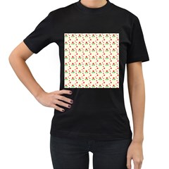 Flower Floral Sunflower Rose Star Red Green Women s T Shirt (black) (two Sided) by Mariart