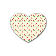 Flower Floral Sunflower Rose Star Red Green Rubber Coaster (heart)  by Mariart