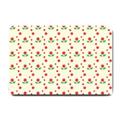 Flower Floral Sunflower Rose Star Red Green Small Doormat  by Mariart