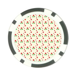 Flower Floral Sunflower Rose Star Red Green Poker Chip Card Guard by Mariart