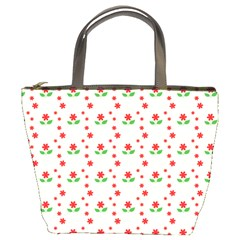 Flower Floral Sunflower Rose Star Red Green Bucket Bags by Mariart