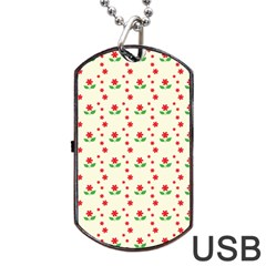 Flower Floral Sunflower Rose Star Red Green Dog Tag Usb Flash (two Sides) by Mariart