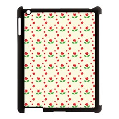 Flower Floral Sunflower Rose Star Red Green Apple Ipad 3/4 Case (black) by Mariart