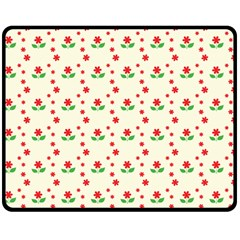 Flower Floral Sunflower Rose Star Red Green Double Sided Fleece Blanket (medium)  by Mariart