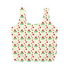 Flower Floral Sunflower Rose Star Red Green Full Print Recycle Bags (m)  by Mariart