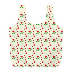 Flower Floral Sunflower Rose Star Red Green Full Print Recycle Bags (l)  by Mariart