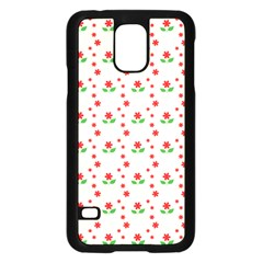 Flower Floral Sunflower Rose Star Red Green Samsung Galaxy S5 Case (black) by Mariart