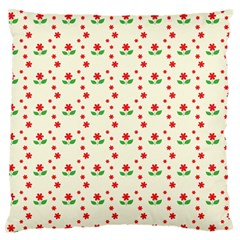 Flower Floral Sunflower Rose Star Red Green Large Flano Cushion Case (one Side) by Mariart