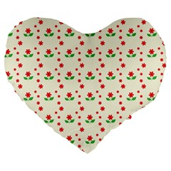 Flower Floral Sunflower Rose Star Red Green Large 19  Premium Flano Heart Shape Cushions by Mariart