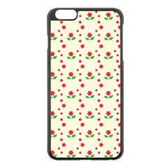 Flower Floral Sunflower Rose Star Red Green Apple Iphone 6 Plus/6s Plus Black Enamel Case by Mariart