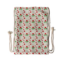 Flower Floral Sunflower Rose Star Red Green Drawstring Bag (small) by Mariart
