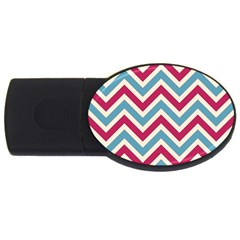 Zig Zags Pattern Usb Flash Drive Oval (4 Gb) by Valentinaart