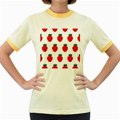 Fruit Strawberries Red Green Women s Fitted Ringer T Shirts by Mariart