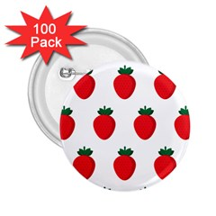 Fruit Strawberries Red Green 2 25  Buttons (100 Pack)  by Mariart