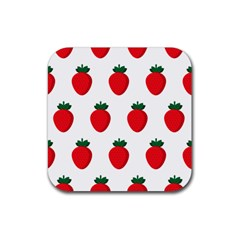 Fruit Strawberries Red Green Rubber Square Coaster (4 Pack)  by Mariart