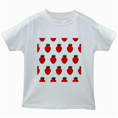 Fruit Strawberries Red Green Kids White T Shirts by Mariart
