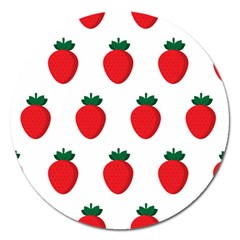 Fruit Strawberries Red Green Magnet 5  (round) by Mariart