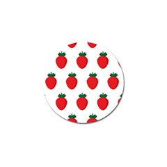 Fruit Strawberries Red Green Golf Ball Marker by Mariart