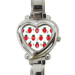 Fruit Strawberries Red Green Heart Italian Charm Watch by Mariart