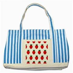 Fruit Strawberries Red Green Striped Blue Tote Bag by Mariart
