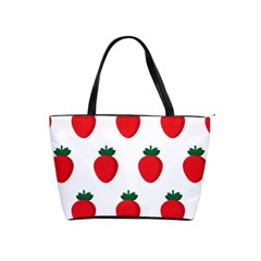 Fruit Strawberries Red Green Shoulder Handbags by Mariart